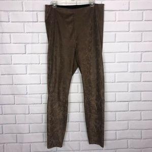 Lysse Brown Tan High Waist Faux Suede Legging XL